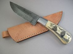 Scrimshaw fixed Damascus Steel blade knife and by lindalayden, $145.00
