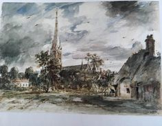 Salisbury Cathedral and Bowling Green Cottage (Constable)
