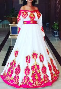 Yohannes sister design Ethiopian Wedding Dress, Ethiopian Dress, Habesha Kemis, Eritrean, Ethiopian Traditional Dress, Traditional Dresses, African Fashion, African Style, Kitenge