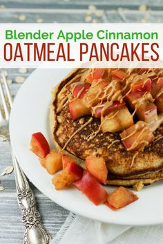 Blender Apple Cinnamon Oatmeal Pancakes - Slender Kitchen. Works for Clean Eating, Gluten Free, Vegetarian and Weight Watchers® diets. 290 Calories.