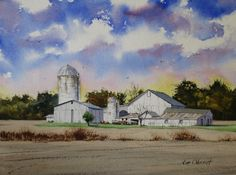 "Working Farm - original 11x15"" original watercolor painting by Jim Oberst - $200 including U.S. shipping"