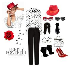 """""""Pretty Powerful Polka Dot"""" by foxxyslang ❤ liked on Polyvore featuring Jacquemus, Dolce&Gabbana, Acne Studios, Alaïa, Alexander McQueen, MANGO and KOCCA"""