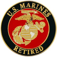 This United States Marine Corps pin proudly sports the USMC logo with the words 'U.S. Marines Retired' along the outside edge. Wear this pin to show that you're proud of the service you've done for th