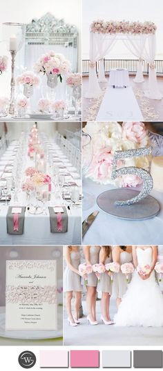 elegant blush pink,light grey and glitter silver wedding colors