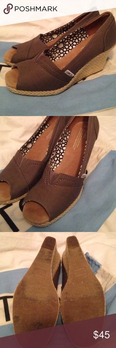 TOMS espadrille peep toe size 9 Super cute wedges! Dark grey. Worn 2x. No box but has TOMS bag TOMS Shoes Espadrilles
