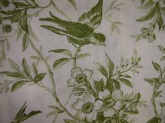 Green toile fabric with birds on branches. by RedRoosterQuiltshop, $10.50