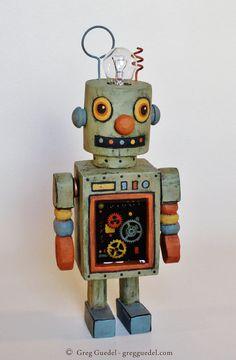 Hand carved vintage inspired robot by GregGuedel on Etsy