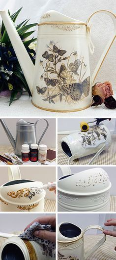 Watering can decoupage tutorial Decoupage Glue, Decoupage Tutorial, Decoupage Furniture, Decoupage Vintage, Painted Furniture, Furniture Design, Home Crafts, Diy And Crafts, Arts And Crafts