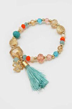 pulseras-de-plata-piedras-artificiales-de-colores-borla-azul