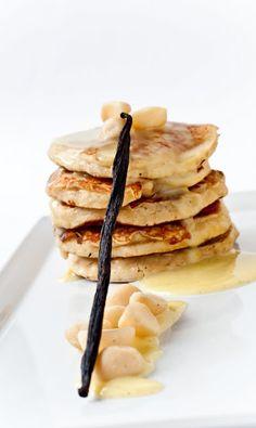 Banana Macadamia Nut Pancakes with White Chocolate Creme Anglaise (I think I would like these with a caramel type sauce0