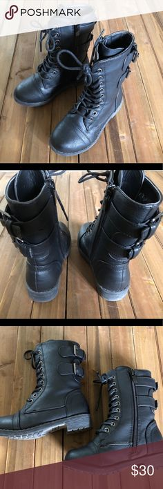 Toddler Black Moto Boots Perfect condition!! These boots were worn only twice, both indoors, so they show virtually no signs of wear!   Faux leather upper, zipper on the inside, faux buckles on the back/outside. Just too cute for words!!!! Shoes Boots