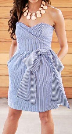 Stripe seersucker dress
