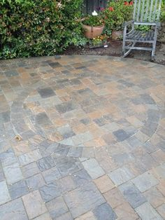Random Pattern Backyard Paver Patio With Paver Steps, Custom Circle Inlays,  And Underground Sprinkler