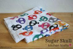 Day of the Dead DIY: Sugar Skull Kitchen Toalla (Towel)