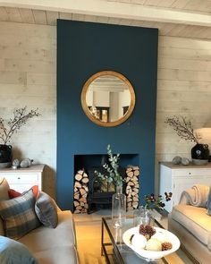 Ideas Home Living Room Diy Fireplaces Navy Living Rooms, New Living Room, Home And Living, Living Room Decor, Blue Feature Wall Living Room, Modern Living, Kitchen Feature Wall, Living Room Sectional, Living Room With Fireplace