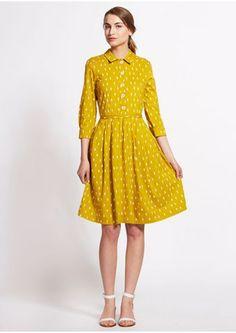 Orla Kiely Shirt Dress in Ochre (fair trade sustainable company)