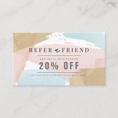 Stylish Pastel Watercolor & Gold Salon Referral Business Card Business Cards Layout, Salon Business Cards, Gold Business Card, Hairstylist Business Cards, Letterpress Business Cards, Free Business Card Templates, Free Business Cards, Business Card Design, Business Supplies