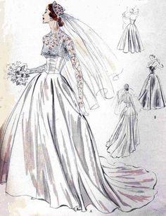 1950s BEAUTIFUL BRIDAL DRESS WEDDING GOWN PATTERN 6 GORED SKIRT, STRAPLESS BODICE, BUTTON BACK BOLERO JACKET, VOGUE SPECIAL DESIGN 4335