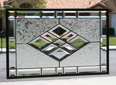 BEVELED DIAMONDS -  Large Clear Stained Glass Window Panel with Faceted Bevels on Etsy, $142.50