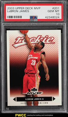 270a34354c9 2003 Upper Deck MVP LeBron James ROOKIE RC  201 PSA 10 GEM MINT (PWCC)   LeBronJames  PSA10  sportscards