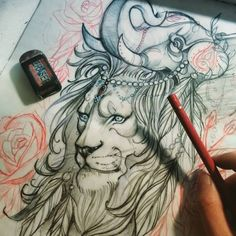 He's not lion when he said his headdress is irrelephant. WIP **this design is taken. Please do not steal. #lion #headdress #elephant #sketch #art #illustration #pencil #animal #cowl #draw #feather #jewel #neotraditional #toronto #chronicink #badpuns