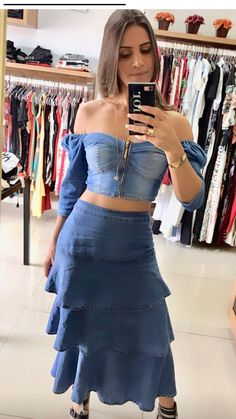 Waist Skirt, High Waisted Skirt, Denim Fashion, Denim Skirt, Jeans, Skirts, Vestidos, Stylish Clothes, Beachwear Fashion
