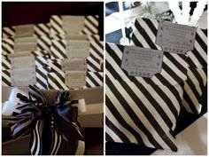 Black and white striped bags filled with caramel corn