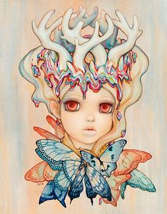'Princess Ticke Trunk' by @helmetgirls. Find out more about Camilla and see more of her wonderful art in her interview at wowxwow.com. (anime, comics, girls, illustration, illustrator, manga, narrative, nature, pop surrealism, story, storytelling, surreal, wildlife, contemporary art, new contemporary art)
