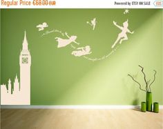 SALE Peter Pan wall decal sticker fantasy by Quirkyworks33 on Etsy