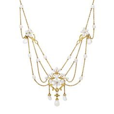 Art Nouveau freshwater pearl swag necklace with diamonds, circa 1900