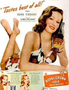 RC Cola was always my favorite! -----A sweetly summery, totally charming RC Cola ad from 1945 featuring the ever-beautiful Gene Tierney. Old Advertisements, Retro Advertising, Retro Ads, Vintage Ads, Vintage Prints, Celebrity Advertising, Advertising Magazines, Vintage Soft, Vintage Tools