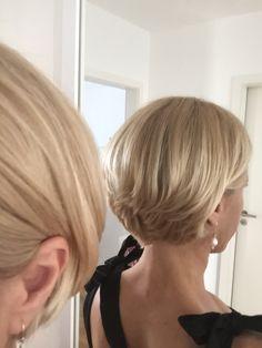Blonde short bob cut