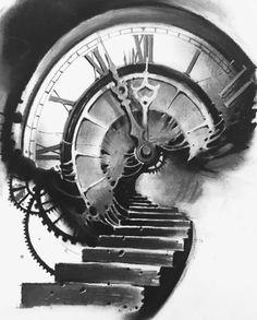 Time Clock Tattoo, Time Piece Tattoo, Clock Tattoo Sleeve, Sleeve Tattoos, Stairs To Heaven Tattoo, Stairway To Heaven, Clock Tattoo Design, Tattoo Designs, Tatoo