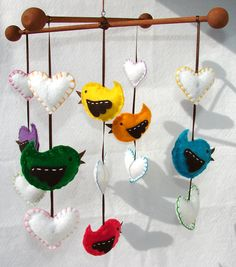 Such a Cute Baby Bird Mobile Colorful Bird and Hearts Baby Felt Crib Mobile