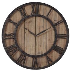 'Powell' Aged Wood and Bronze Wall Clock | Overstock.com Shopping - The Best Deals on Clocks