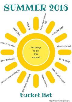 Summer Bucket List {and free printable}