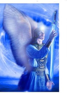 I AM the invincible Archea Faith, the Divine consort of Archangel Michael, and my beloved Michael and I, together with our legions of blue-lightning angels, are entering your human world by demand of Almighty God at this very moment. Angel Hierarchy, Male Angels, Angel Warrior, Angel Pictures, Angels Among Us, Angel Cards, Miguel Angel, Gif Animé, Guardian Angels
