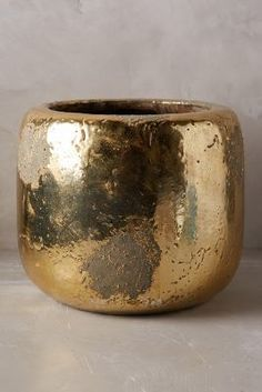 ANTHROPOLOGIE METALLIC CRACKLE HERB POT  $14 by Anthropologie at Anthropologie   Available Colors: gold Available Sizes: Window Pot DETAILS Terracotta. Wipe with dry cloth. Imported