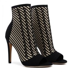 Striped High Heel Ankle Boots (€795) ❤ liked on Polyvore featuring shoes, boots, ankle booties, short high heel boots, high heel booties, striped boots, high heel boots and high heel ankle boots