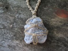 Gorgeous Blue Lace Agate Hempwrapped Necklace by HempressBeads, $32.00