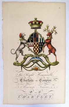 Edmondson Folio Heraldry Engraving Charlotte Compton 1700's Coat Of Arms 18th C