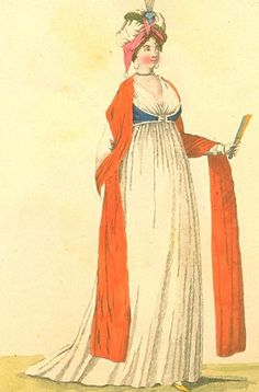 Turban love and how to wear a sari, Regency style. A lovely sleeveless spencer. London and Paris Fashions, December 1799 (but appearing in the number) Image Bunka Gakuen Library. Regency Dress, Regency Era, Turbans, 1800s Fashion, Vintage Fashion, How To Wear A Sari, 18th Century Costume, European American, Empire Style