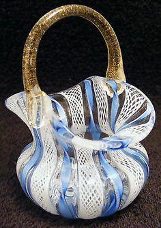 Scarce Murano Italian Art Glass Blue White Latticino Aventurine Basket Open Salt | eBay Glass Animals, Pet Birds, Stained Glass, Glass Vase, Perfume Bottles, Porcelain, Pottery, Venetian Glass, Italian Art