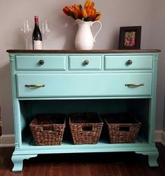 Opened dresser refinished in teal