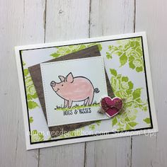 This little piggy from Stampin' Up! gives hogs & kisses. Uses the new Lemon Lime Twist color and the new copper ribbon. The pig is in the new Powder Pink In Color. Created by Needs A Ribbon
