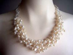 Pearl wire crochet necklace wire crochet jewelry by starrydreams