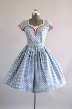 Vintage 1950s Dress / 50s Cotton Dress / Chambray Blue White