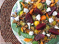 Spinach Lentil Beet Salad with Balsamic Dressing {No Added Sugar} | SugarFreeMom.com