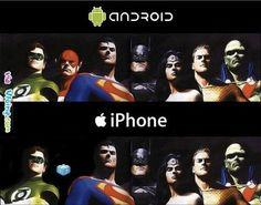 What do super heroes look like on the iPhone vs Android