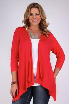 Yoursclothing Womens Plus Size Jersey 3/4 Sleeve Waterfall Draped Cardigan: Amazon.co.uk: Clothing